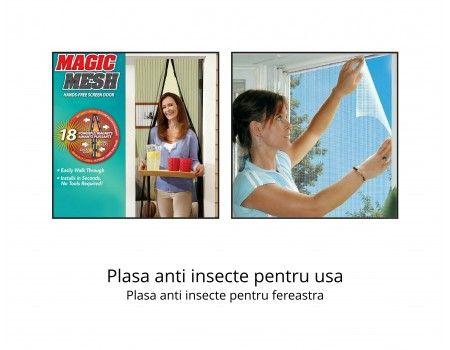 Plasa anti insecte pentru usa + 2 x Plase anti insecte pentru fereastra