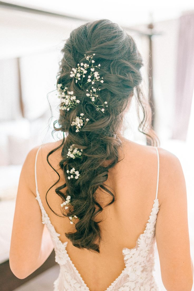 Bridal Hair Braid With Gypsophila - Godwick Hall Wedding With Bride In Anna Georgina Bridesmaids In Green Sequinned Dresses Images From Sarah Jane Ethan Photography