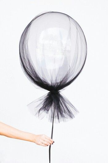 A Clear Balloon And a Swash of Tulle Create Simple And Sophisticated Beautiful Party Decor !                                                                                                                                                      More