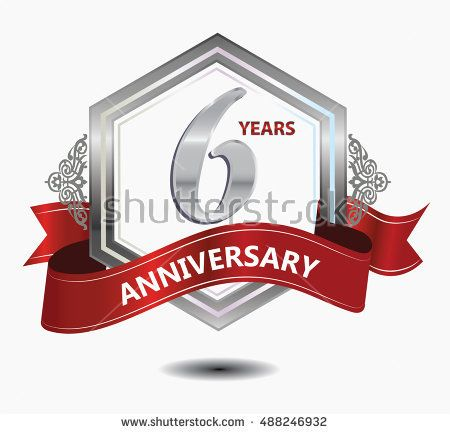 6 years anniversary hexagonal style logo with silver combination red ribbon. anniversary logo for celebration, birthday, wedding, party. anniversary logo 6th