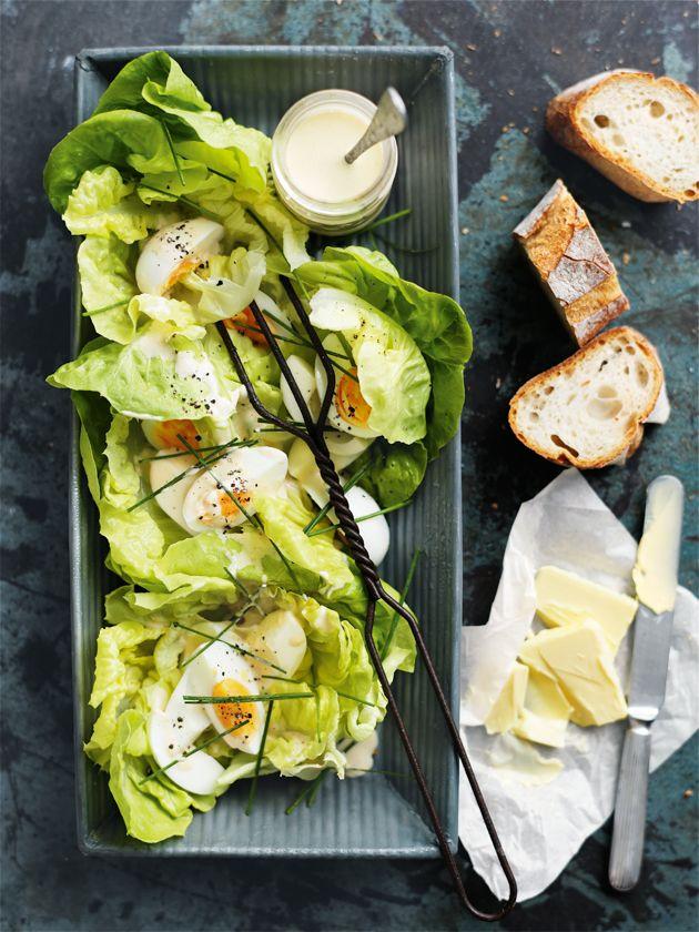 butter lettuce and egg salad with malt vinegar dressing