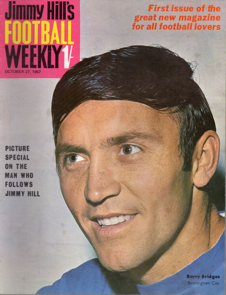 Barry Bridges of Birmingham City FC on the cover of Jimmy Hill's Football Weekly. 1967