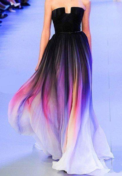 Блестящие платья в стиле омбре.
