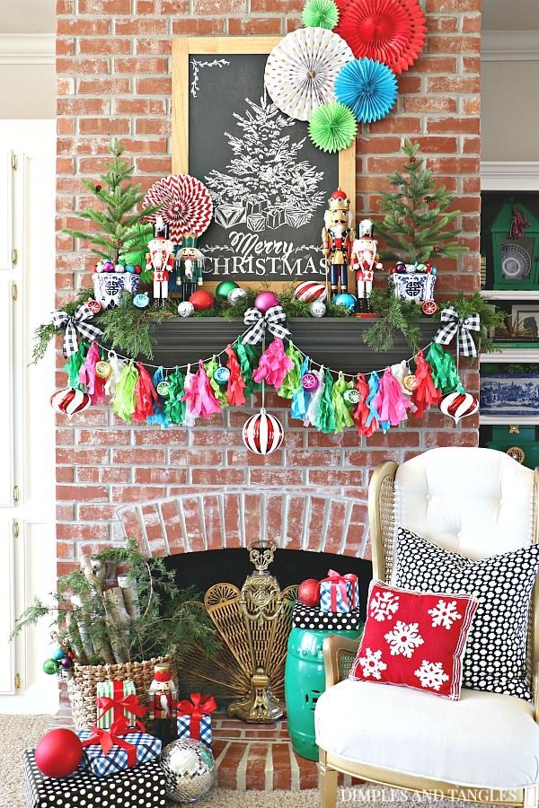 COLORFUL CHRISTMAS MANTEL WITH HOBBY LOBBY  ||  Paper Fan Christmas Decorations  ||  Christmas Mantel