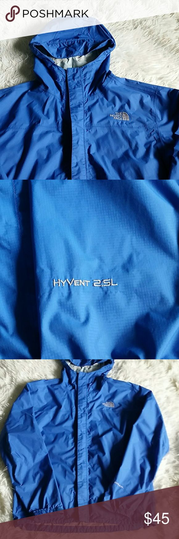 North Face Men's jacket EUC North Face Hyvent 2.5L.  Re-Poshing because my boys don't want blue - I think it's a beautiful blue.  There is one area inside that is showing wear (shown in picture 5). All zippers and velcro in working order. North Face Jackets & Coats Windbreakers