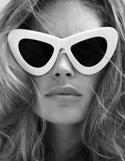 white-framed, retro sunglasses