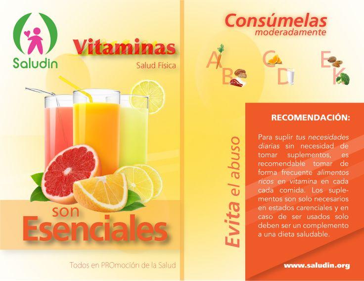 Díptico Anverso #Vitaminas #Nutricion Sirven para evitar deficiencias y son necesarias para el buen funcionamiento celular. #saludin
