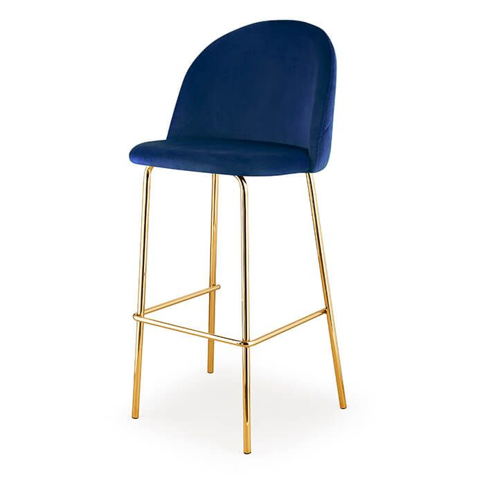 The Adela Velvet Barstool Radiates Modern Luxury Upholstered In Navy Blue Velvet The Adela Brings Trendy Gold Dining Room Chair Bar Stools Modern Bar Stools