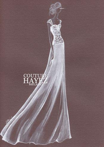 figurino abito sposa couture-couture hayez, atelier alta moda, abiti sposa scivolati, abiti sposa semplici, abiti sposa italiani