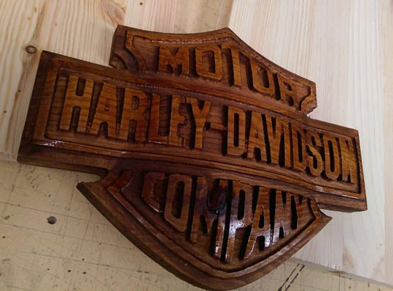 Harley Davidson Sign manufactured from proper wood NOT MDF this sign absolutely looks stunning its 3 dimentional and took a very long time to manufacture in terms of machining time this product is not available any where else and Im sure you wont find one like it. The product after