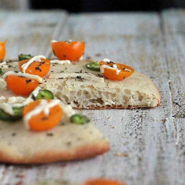 Vegan Richa: Crunchy Tomato Rings, Pea & Kale pesto on Soft White Gluten-free Pizza Crust. glutenfree gumfree vegan recipe
