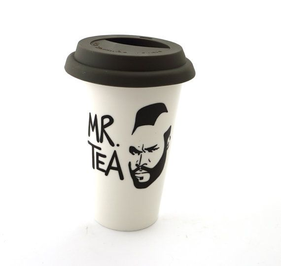 Mr T Tea Travel Mug Double Walled Porcelain Eco cup by LennyMud