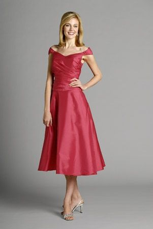 Sleeveless off-the-shoulder magenta satin A-line pleated tea-length Mother Of The Bride Dress MBD260032