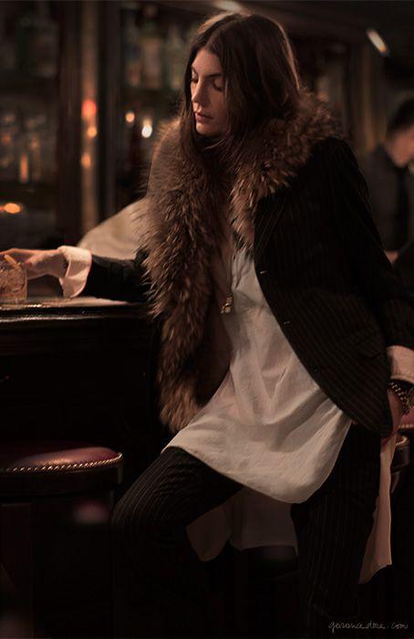 Menswear suit, vintage blouse, fur collar / Garance Doré