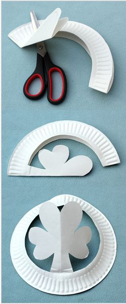 How to cut a paper plate into a shamrock hat!