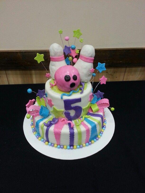 Girly bowling birthday cake.