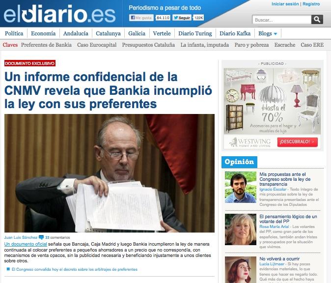 Portada de eldiario.es. 11 de abril de 2013.