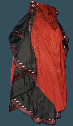 """Moresca skirts - the gypsy skirt (black) with a """"V dip 2"""" skirt (red) over the top."""