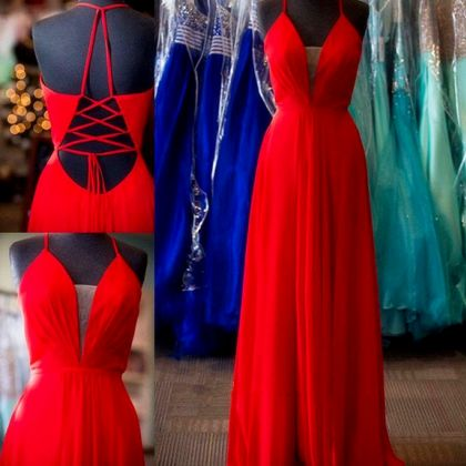 Gorgeous Red V Neck Chiffon Formal Gown With Spaghetti Straps Long Prom Dress