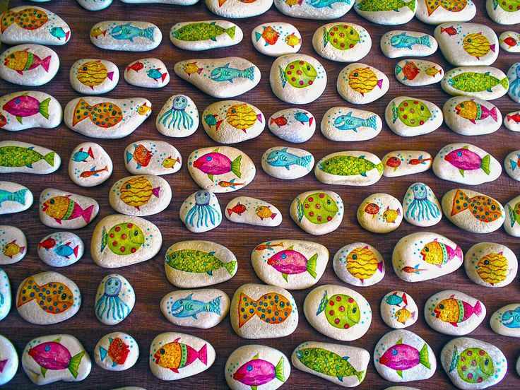 Decoupage technique applied on stones handmade by Asimopetra collected from Samos beaches