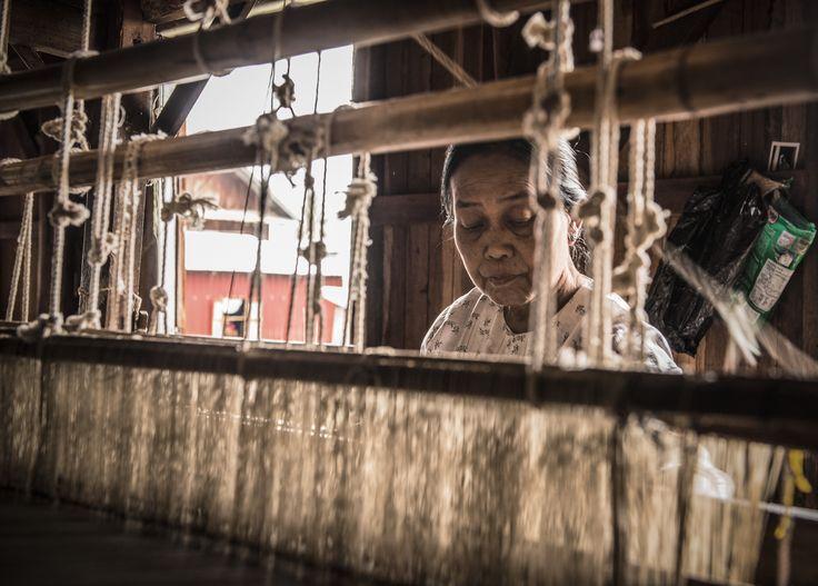 """We need 40,000 lotus stems and 2 weeks to weave a small scarf""  Lotus Weaver – #Inle Lake, #Myanmar"
