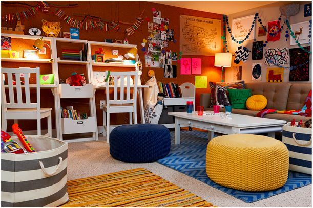 7 cool playroom ideas for kids for kids corkboard wall for Cool playroom designs