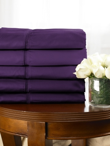 purple sheets are seriously purple #purple #bedroom  I think just getting these will make me happy for a month!