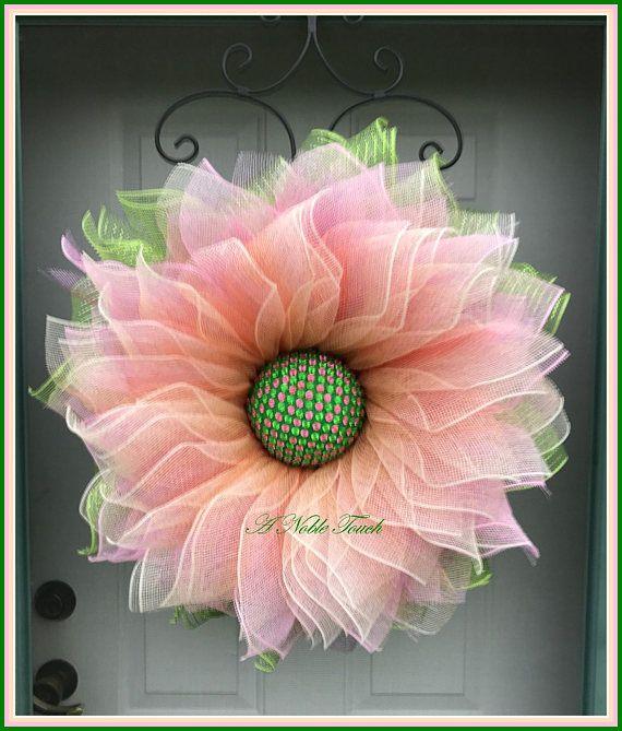 Deco Mesh Flower Wreath Summer Wreath Spring Wreath Front