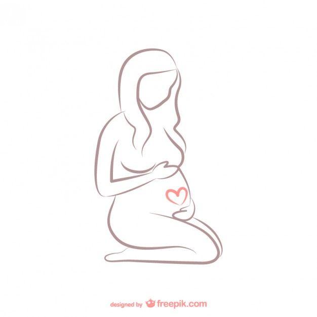 Беременная женщина план Бесплатные векторы
