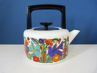 Enamel kettle Villeroy and Bosh Acapulco vintage retro  Scandinavian 60s 70s