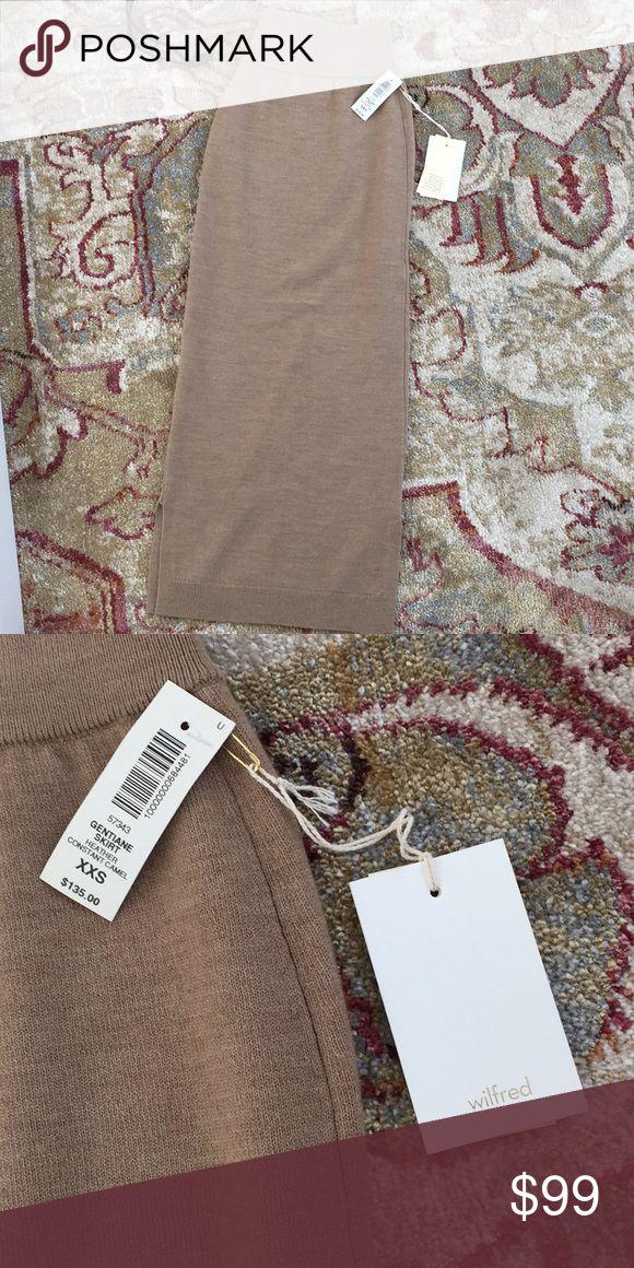 Aritzia knit skirt, size xxs, camel, wool Aritzia slim knit skirt, size xxs, 6 inch slit at calf Aritzia Skirts Midi