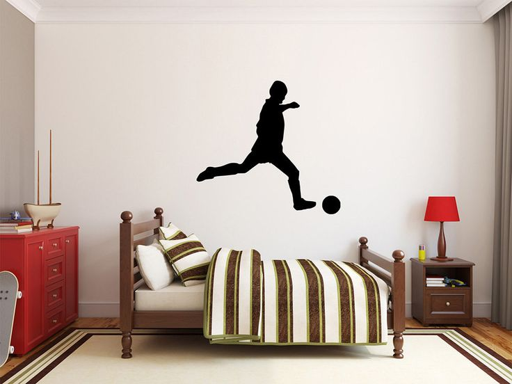 "Soccer Player Wall Decal - 27"" x 29"" Soccer Player Silhouette Vinyl Decal - Soccer Player 2"