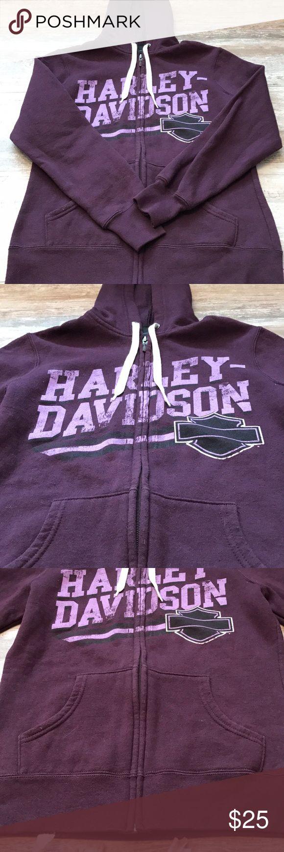 Harley-Davidson women's XS zip up hoodie Harley Davidson women's size XS purple  Virginia Beach Harley Davidson on back  Long sleeve- hoodie  Length:23 in Armpit to armpit: 17in Harley-Davidson Jackets & Coats