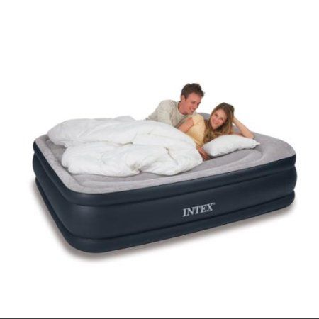 Intex Deluxe Queen Raised Pillow Rest Air Mattress With Built-In Pump | 67737E