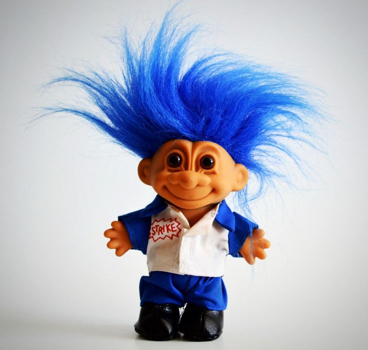 Vintage Russ Troll Doll, Blue Hair, Bowling Figure, Lucky Strike Shirt, Good Luck Charm, Love Bowling by Retrorrific on Etsy