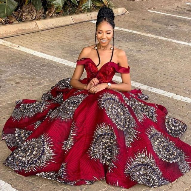 Red African Ball Gown | African Print Dresses | African Clothing Styles |  African clothing styles, African prom dresses, African print fashion dresses