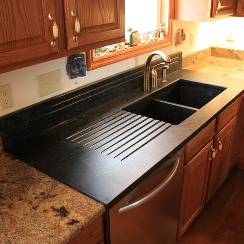 Soapstone Sinks In This Kitchen A Soapstone Sink Drainboard Combination Is Mixed With Lapidus