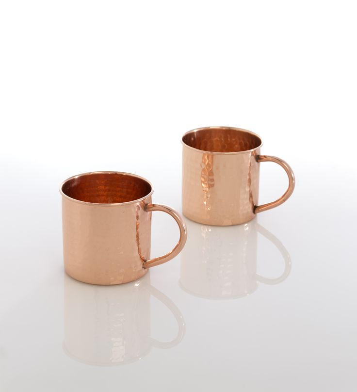 Beautiful and lustrous, these copper mugs are perfect for an ice cold cocktail.