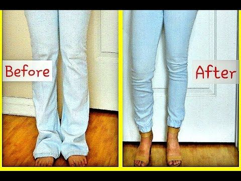 DIY CUFFED Jogger Pants/Jeans (UPCYCLE) - YouTube