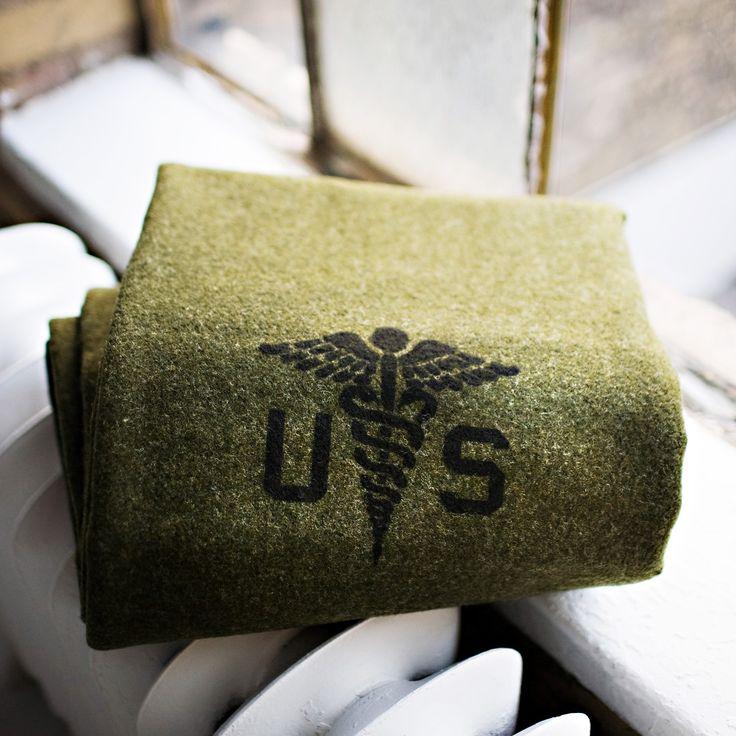 Foot Soldier Military Wool Blanket - Army Medic Green