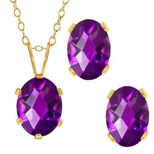 2.50 Ct Checkerboard Purple Amethyst Gold Plated Silver Pendant Earrings Set Gem Stone King. $19.99. 100% Natural Amethyst. Center Stone: 8x6 mm , Small Stones: 7x5 mm. 2.50 Ct