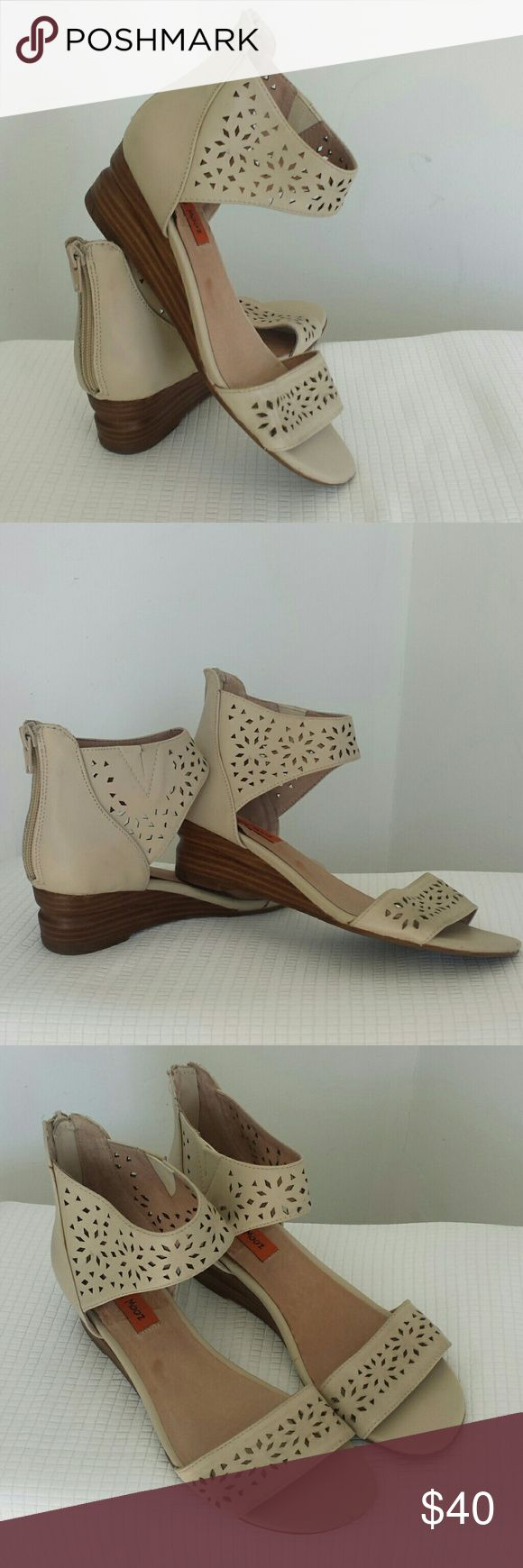 """MIZ MOOZ PASADENA WEDGE The Pasadena is an adorable wedge. It features a 1 3/4"""" wrapped wood stacked heel and diomand cut out detail along the toe box and ankle. This is the perfect warm weather sandal! Wear your Pasadena with a cute white flowy top. Leather These were a store sample and show very little to no wear and look new. Miz Mooz Shoes Sandals"""