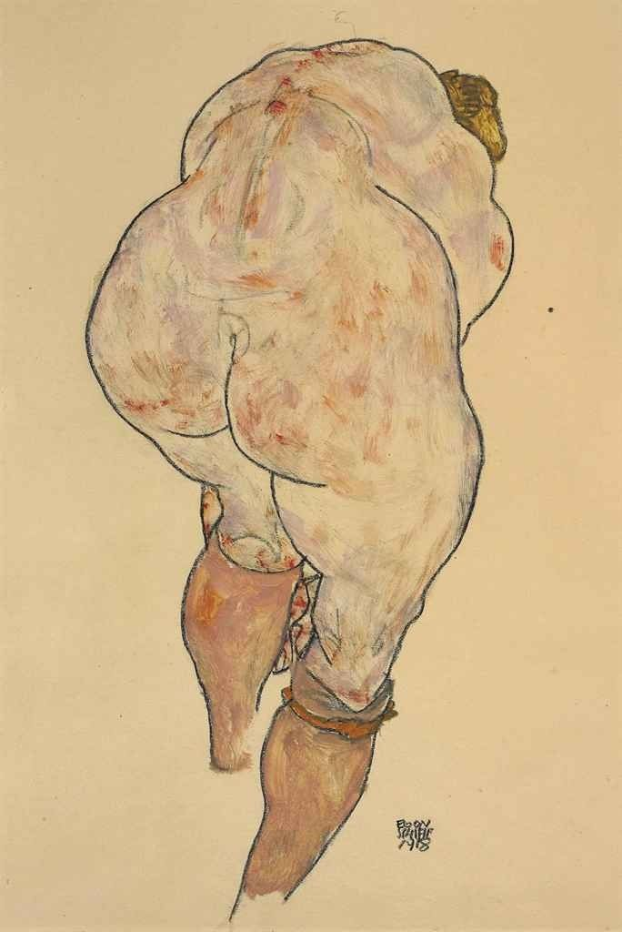 Schiele: Female Nude Pulling up Stockings, Back View, 1918.