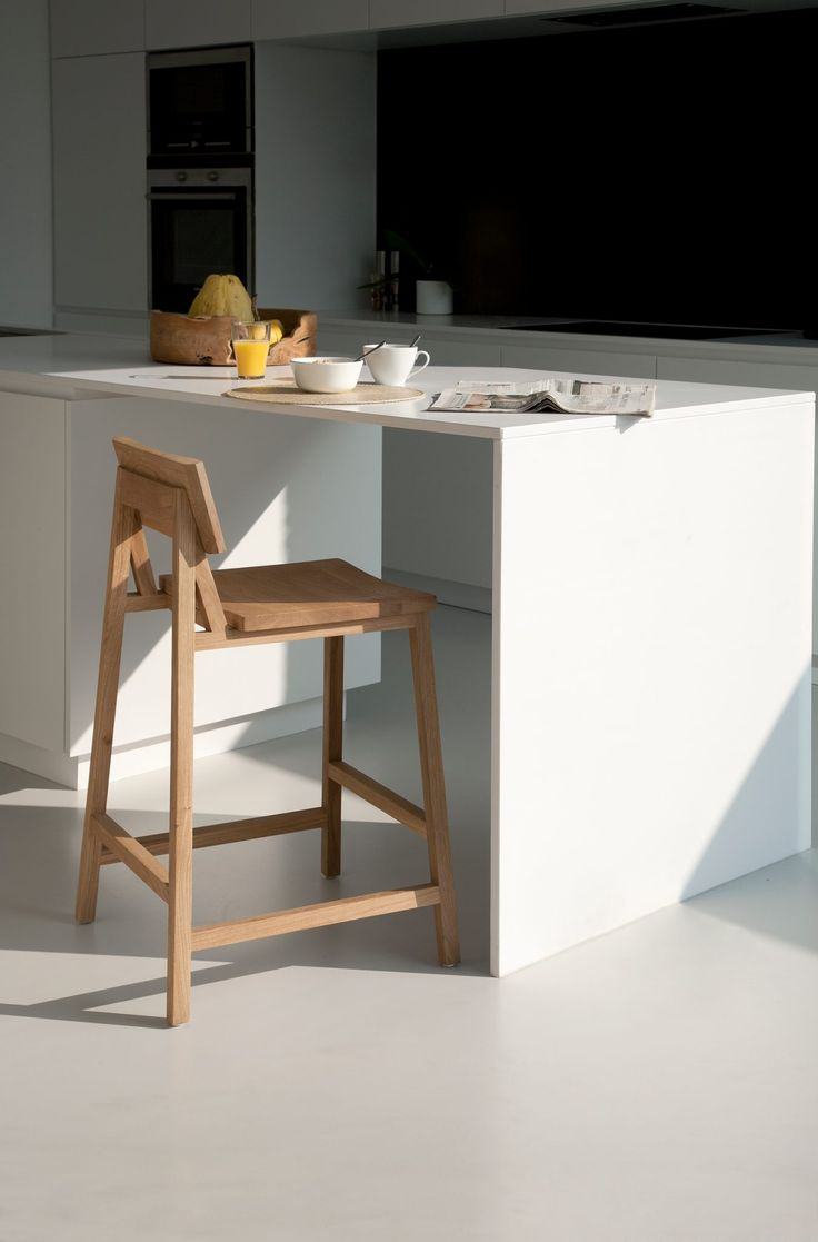 """Created on the vision of """"evoking a sense of wonder"""" comes the N3 Stool from renowned designer Nathan Yong. Made of oak, and displaying the details and nuances of natural wood, the N3 stool is unique in character. A modern yet timeless piece that will enhance a wide variety of interiors. #kitchen #stool #interiordesign"""