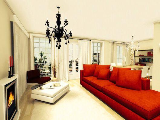 3d floor plans - konstadina nastou decorator-Greece-http://kinteriorsblog.wordpress.com/ #floorplans #roomsketcher  #living_room #red_sofa #black #white #cream #chandelier #interiors #decoration #fireplace #home