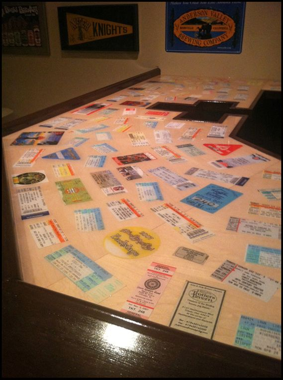 Epoxy Bar Top with Concert Tickets