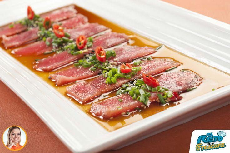 Tiradito de atún marinado en soya. Chef: Catherine Lemoine Receta: http://superpola.com/#/receta/tiradito-de-atun-marinado-en-soya