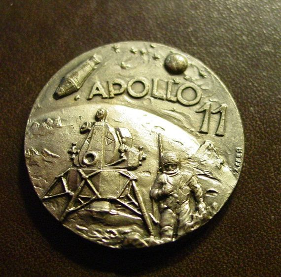 Vintage Apollo 11 Silver Coin Depicting The Moon By