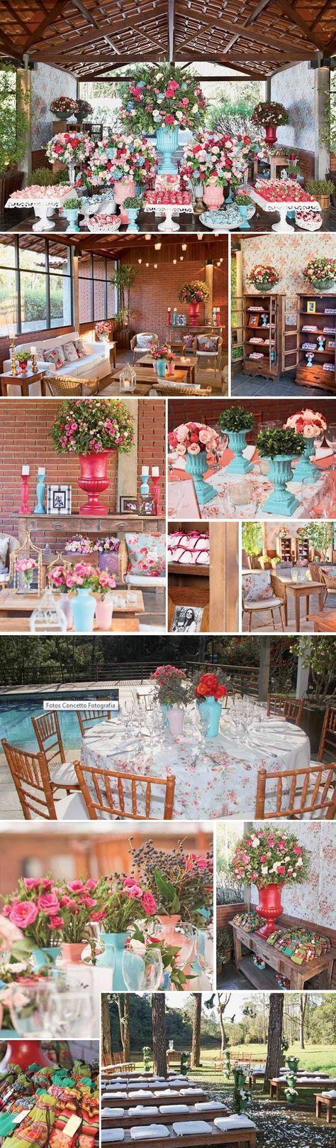 decoração rosa, azul e vermelho