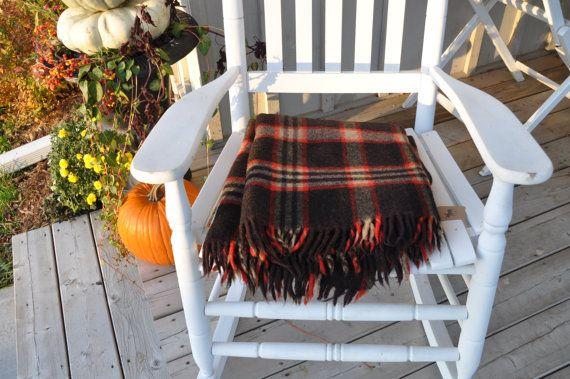 Beautiful Black/Red & Tan Wool Blanket/Throw by Windyhillbarn